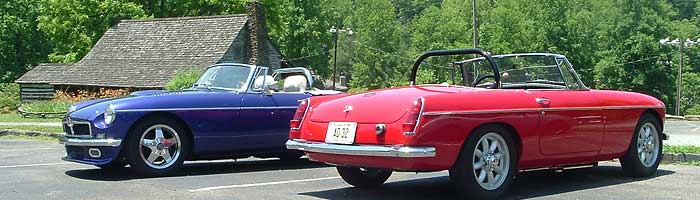 two MGB V8 conversions, photographed near Townsend TN