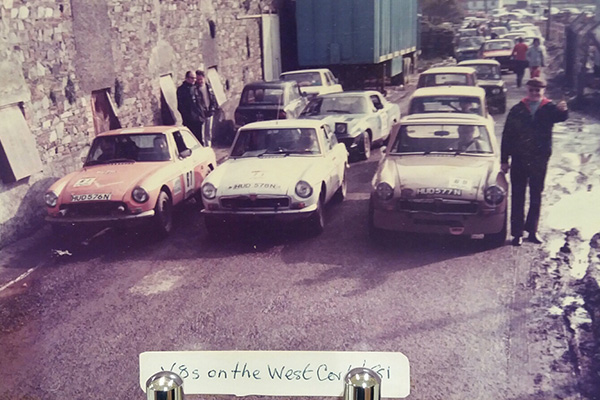 MGB GT V8 prototypes - numbers 104, 102, and 97 - at the Cheltenham Stages Rally, July 1975.