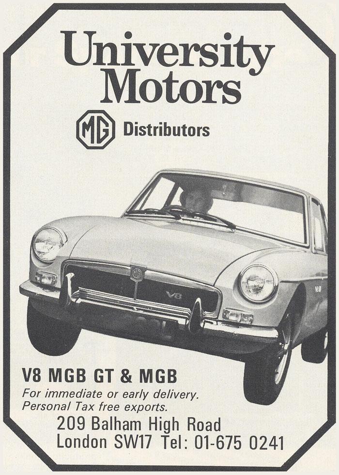 University Motors 1973 Magazine Ad V8 Mgb Gt