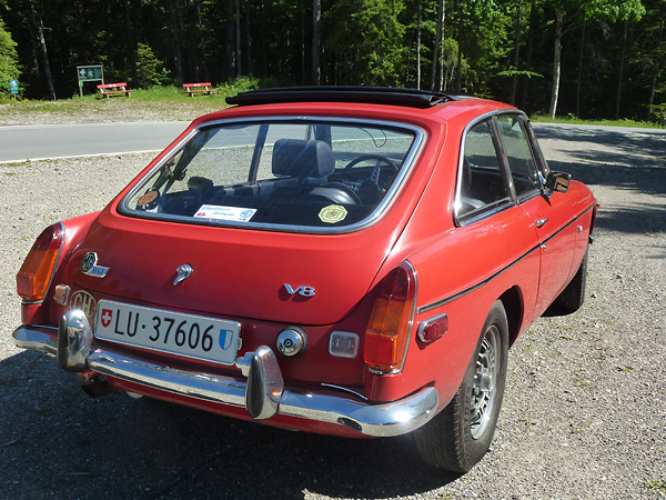 MGB GT V8 chassis number 100, circa 2014 (rear view)