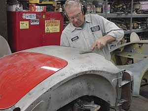 both traditional & modern body repair methods for vintage MG cars