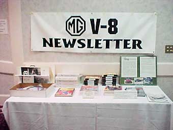 MG V-8 Newsletter display table