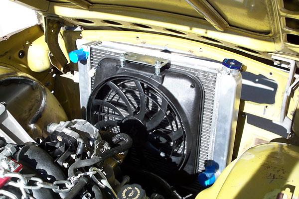 calvin grannis\u0027 1974 triumph tr6 chevrolet ls1 5 7l v8 conversionsixteen inch 2250cfm electric fan with matching shroud