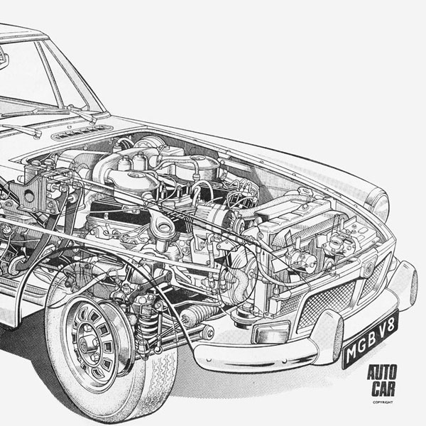 Autocar Cutaway 2 britain's autocar weekly magazine look what's gone into the mgb gt mgb engine diagram at aneh.co